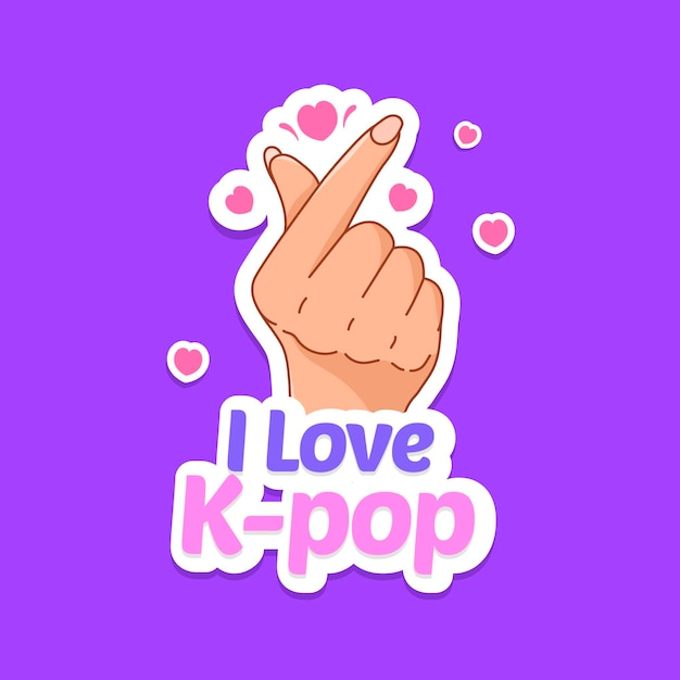 K-pop music concept illustrated with finger heart