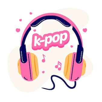 K-pop music concept illustrated with pink headphones