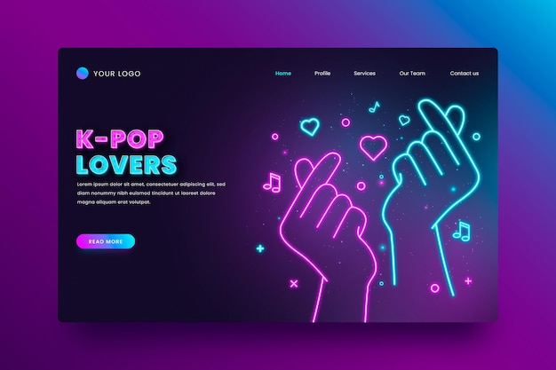 K-pop music landing page style