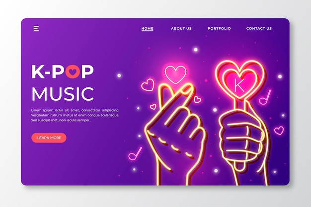 K-pop music landing page template