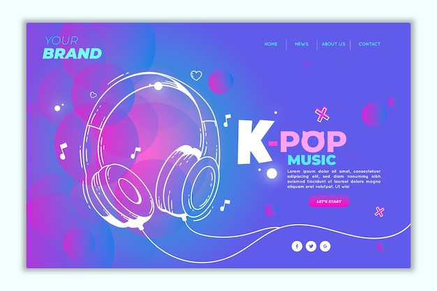 Pagina di destinazione della musica k-pop