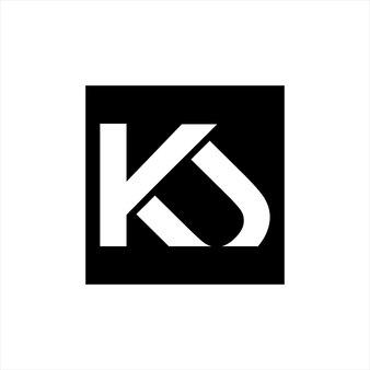 K and u letter monogram logo simple initial square