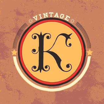 K vintage логотип дизайн вектора