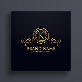 プレミアムレターkブランドロゴコンセプトデザイン