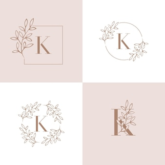 Дизайн логотипа буква k с элементом листьев орхидеи