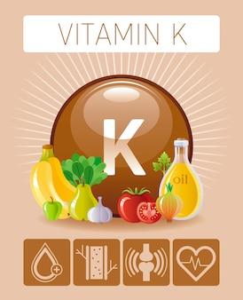 ビタミンkは、人間に有益な食品アイコンを補います。健康的な食事のフラットアイコンセット。オリーブオイル、ニンニク、ナッツ、トマト、バナナとダイエットインフォグラフィックグラフポスター。