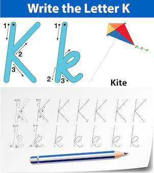 K英語カードの文字を書く
