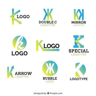 多色のレターkのロゴのコレクション