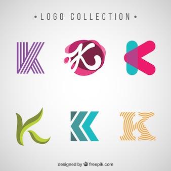 Различные современные и абстрактные логотипы буквы «k»