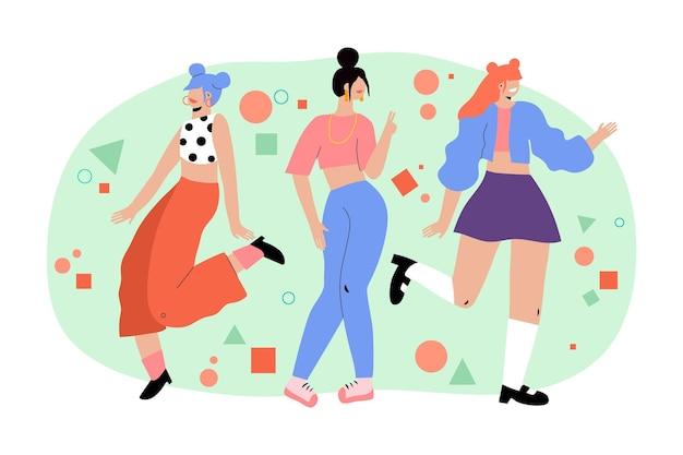 K-поп девушка группа иллюстрации