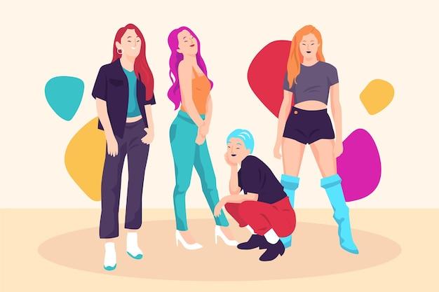 K-поп девушки позируют вид спереди