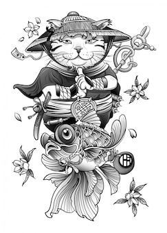 中国の猫の僧kは花の間で瞑想します