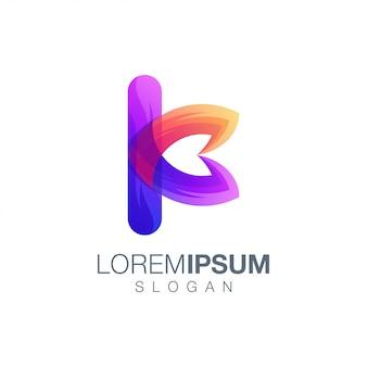 Шаблон логотипа цвета градиента буква k