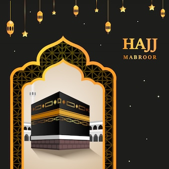 Kaaba  for hajj mabroor in mecca saudi arabia. pilgrimage steps from beginning to end arafat mountain for eid adha mubarak. islamic background. hajj ritual.