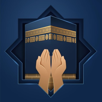 Kaaba place with hands of prayer. mecca holy stone and palms of religious man. ka hab background for al-adha or eid ul-adha holiday, sacrifice festival, ramadan. salah praying  or sign. religion