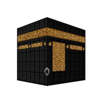 Кааба в мекке саудовской аравии. священная мечеть мусульман. исламское паломничество. графическая иллюстрация