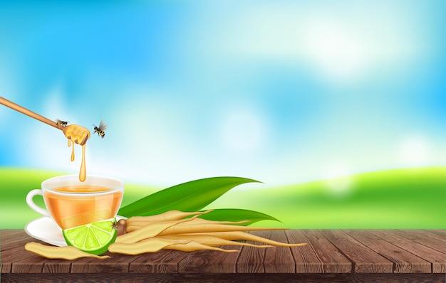 Kaempferia fresh with honey and lemon juice for health