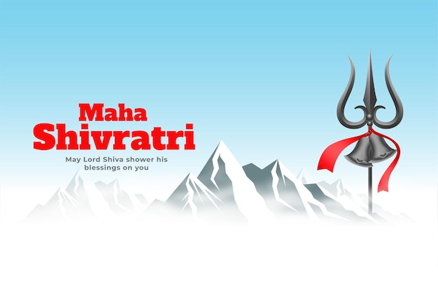 Kailash parwat mountain with trishul composition for maha shivratri festival