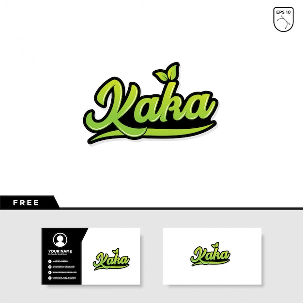 Kaka lettering text effect and business card