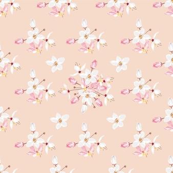 パステルカラーの背景にシームレスパターン白とピンクのkalapapruek花。