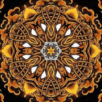 万華鏡の抽象的な幾何学模様。デザインのイラスト。鮮やかな色とりどりの花