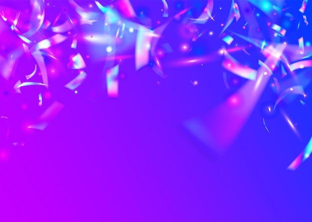 만화경 효과. 금속 요소. 브라이트 포일. 네온 틴셀. 흐림 추상 장식. 크리스탈 글리터. 블루 디스코 색종이 조각. 크리스탈 아트. 보라색 만화경 효과