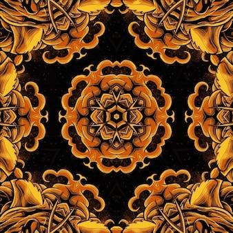 カレイドスコープゴールドのカラフルな花。デザインの明るいイラスト