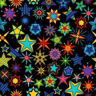 만화경 별 검은 배경. 노란색과 녹색, 주황색과 파란색 별은 매끄러운 패턴을 설정합니다. 벡터 일러스트 레이 션