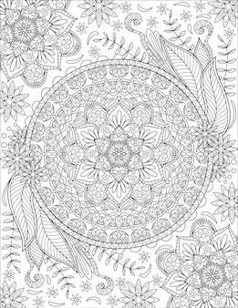 만화경 대칭 꽃 기호 무색 선 그리기 기하학적 원형 같음