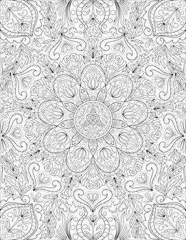 万華鏡対称花のシンボル無色の線画幾何学的に円形等しい