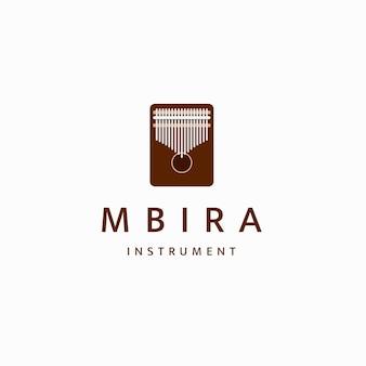 カリンバムビラまたは親指ピアノアフリカの伝統的な楽器のロゴアイコンデザインテンプレートフラット