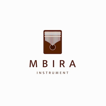 Kalimba mbira or thumb piano african traditional musical instrument logo icon design template flat