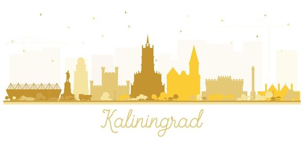 黄金の建物とカリーニングラードロシアの街のスカイラインのシルエット。ベクトルイラスト。歴史的な建築とビジネス旅行と観光の概念。ランドマークのあるカリーニングラードの街並み。
