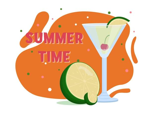 カミカゼカクテル。夏の飲み物。フラットベクトルイラスト