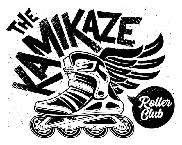 Kamikaze rolling club grunge  with winged roller skate. dirty monochrome design.