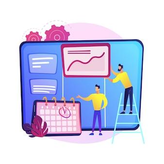 할 일 목록이있는 kanban 보드. 작업 및 시간 관리 방법. 프로젝트 프로세스, 워크 플로 최적화, 구성. kpi 성능 효율성.