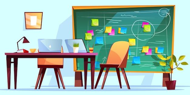 アジャイルスクラムマネジメントとチームワークビジネスのための職場イラストレーションにおけるkanbanボード