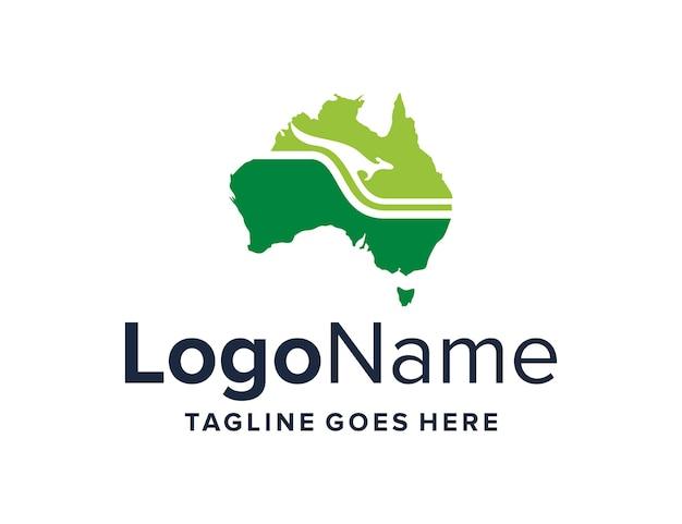 Kangaroo and australia map simple sleek creative geometric modern logo design