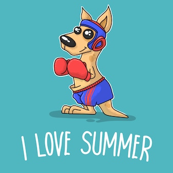 Kangaroo boxing and saying i love summer