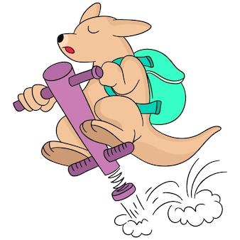 Кенгуру несет сумку в школу. мультфильм иллюстрация милый стикер