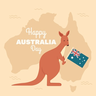 Кенгуру держит австралийский национальный флаг