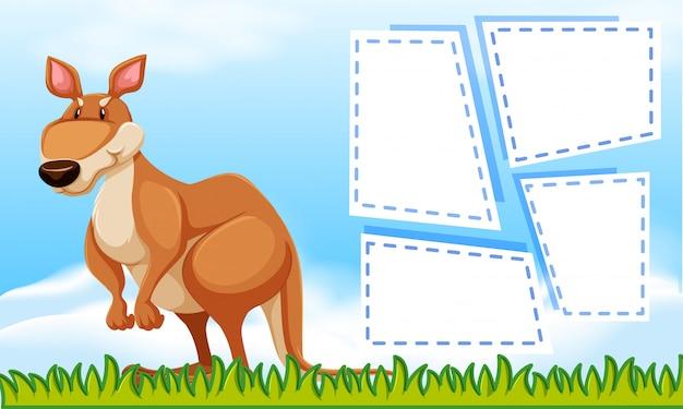 Kangaroo on nature template Free Vector