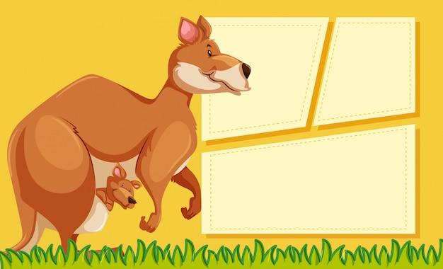 Kangaroo on note background