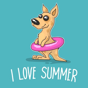 Kangaroo saying i love summer