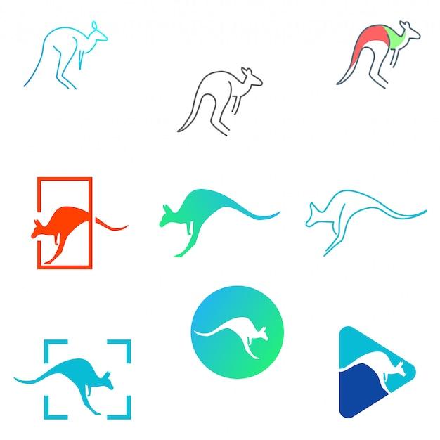 Kangaroo set logo template vector illustration