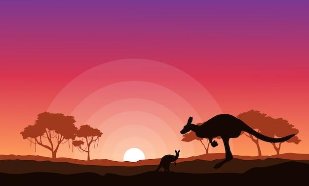 カンガルーのシルエットの風景の背景コレクション