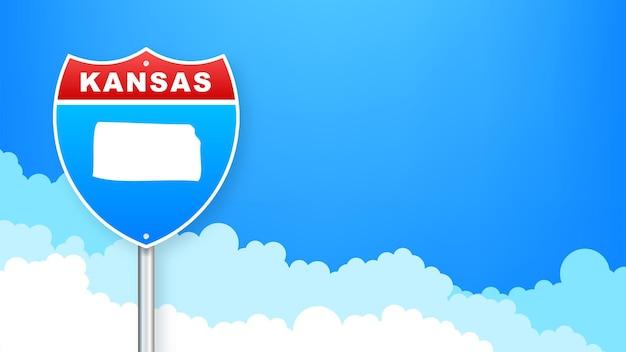 도 표지판에 캔자스 지도입니다. 캔자스 주에 오신 것을 환영합니다. 벡터 일러스트 레이 션.
