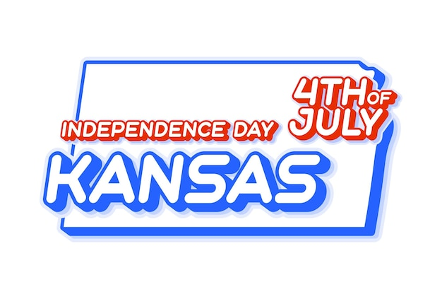 Kansas state 4th of july independence day with map and usa national color 3d shape of us