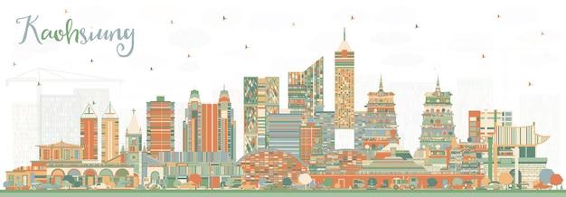 色の建物と高雄台湾の街のスカイライン。ベクトルイラスト。歴史的な建築とビジネス旅行と観光の概念。ランドマークのある高雄中国の街並み。