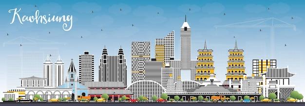 灰色の建物と青い空の高雄台湾市のスカイライン。ベクトルイラスト。歴史的な建築とビジネス旅行と観光の概念。ランドマークのある高雄中国の街並み。